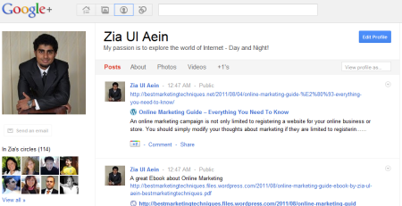 Zia Ul Aein Google Plus Profile